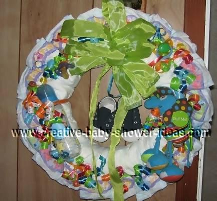 green and blue diaper wreath