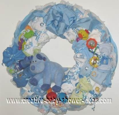 blue deer diaper wreath