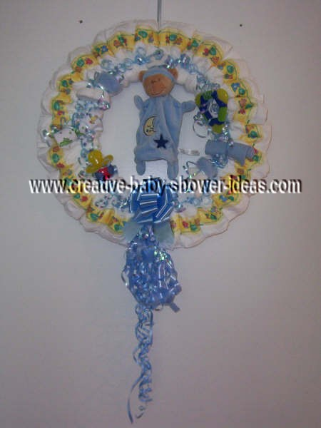 blue and yellow bear diaper wreath