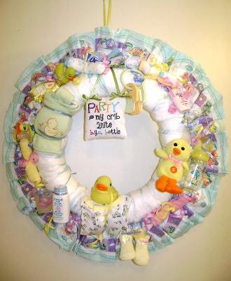 purple duck diaper wreath with party in my crib tonight sign