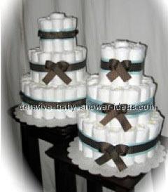 2 mod mom baby shower diaper cakes