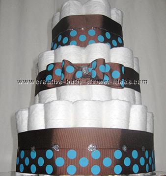 brown polka dots baby diaper cake