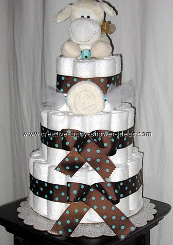 cream dog baby shower diaper cake