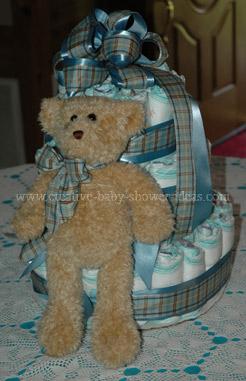 blue plaid bear diaper cake
