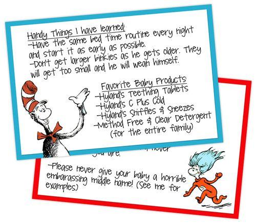 dr seuss baby shower advice cards