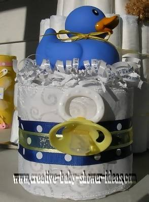 blue polka dot and duck diaper cake