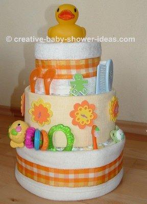 orange plaid duck diaper cake