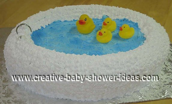 rubber ducks in a bathtub cake