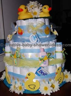 blue and white ducks and daisies diaper cake