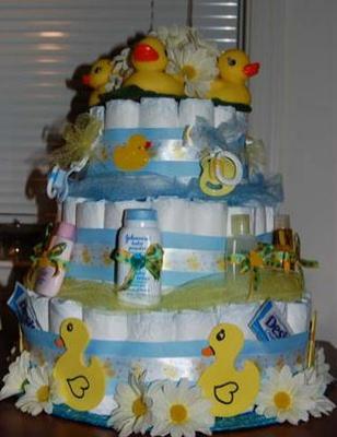 3 tier ducks and daisies diaper cake