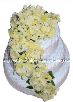 cream flowers diaper cake