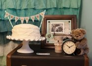 vintage aqua and brown styled gender reveal party