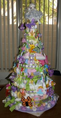 colorful doll diaper cake