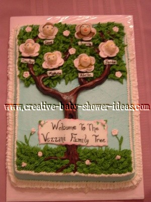 family tree baby shower cake with faces on the rose blossoms