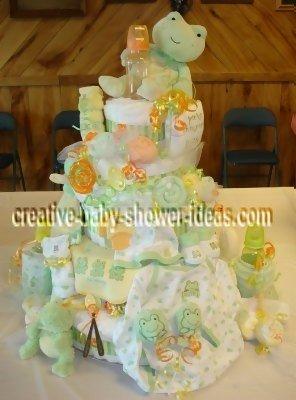 green frog lollipop diaper cake