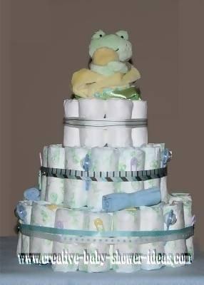 light frog diaper cake