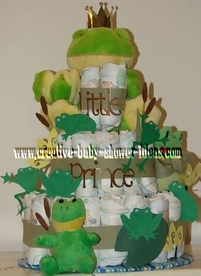 little prince frog diaper cake