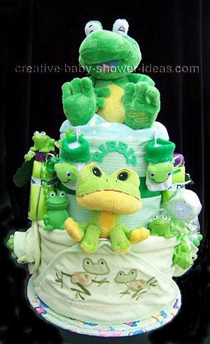 green ribbit rabbit frog diaper cake