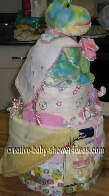 watercolor frog diaper cake with bib cape