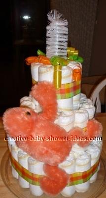 orange frog diaper cake