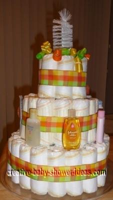 orange plaid frog diaper cake
