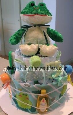 handsome frog diaper cake