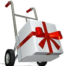 white gift with a red bow on a dolly to be delivered