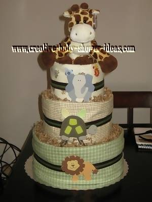 tand and green giraffe diaper cake