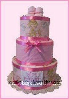 pink baby bootie girl diaper cake