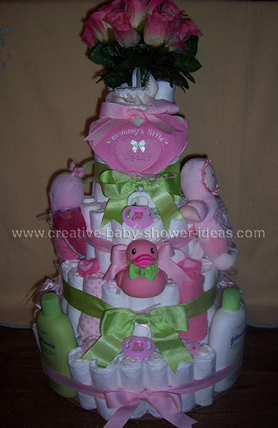 elegant pink and green girl diaper cake