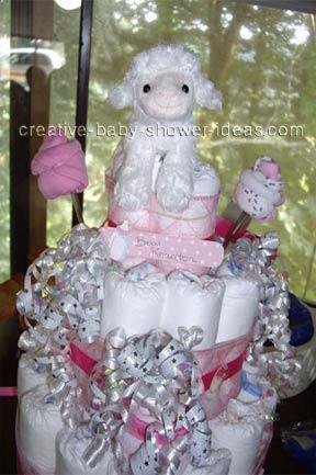 closeup of girl lamb diaper cake
