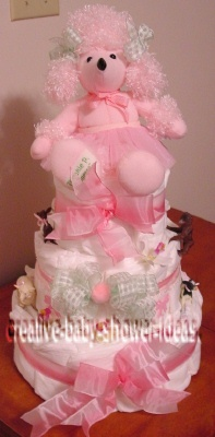 pink poodle girl diaper cake