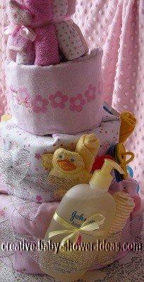 closeup of left side of girl diaper cake
