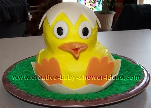 yellow baby hatching duck with shell cake