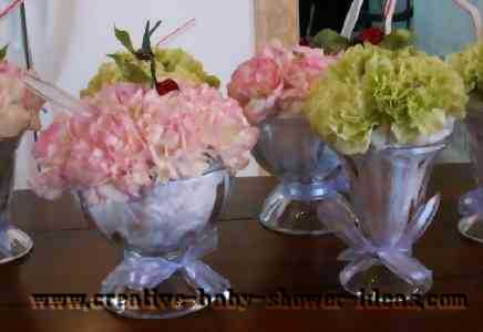 ice cream fresh flower centerpiece