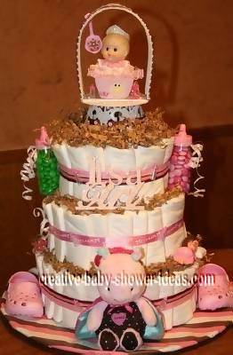 girl tractor diaper cake