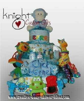 chick magnet monkey diaper cake