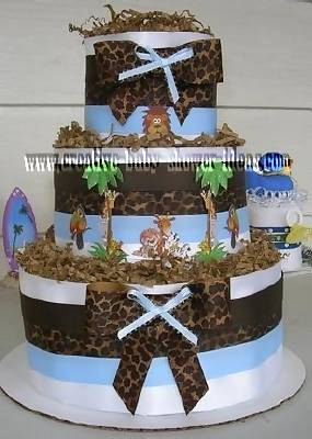 spotted blue jungle animals diaper cake