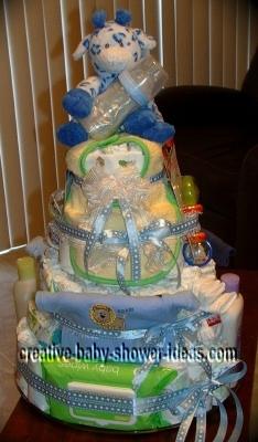 spotted blue giraffe diaper cake