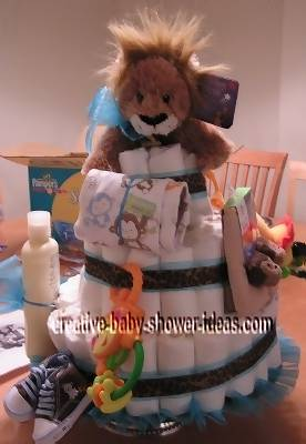 blue and brown jungle lion diaper cake