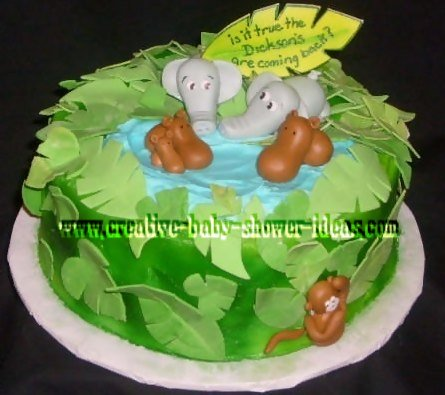 jungle animals pond cake