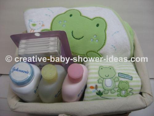 basket of baby frog shower gift