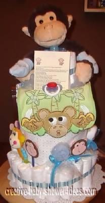 front of monkey diaper cake with cute monkey bib