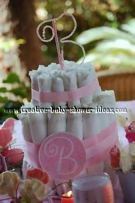 elegant monogram b girl diaper cake