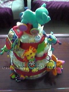 other side of colorful animals diaper cake