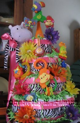 pink zebra stripes diaper cake