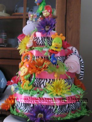 side of zebra stripes animal diaper cake