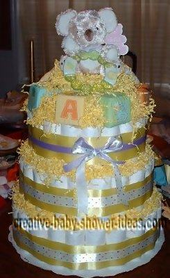 koala nappy cake with baby blocks