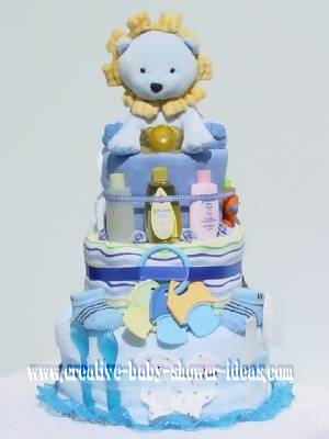 blue lion nappy cake