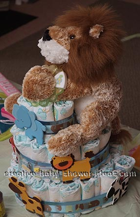 lion teether nappy cake